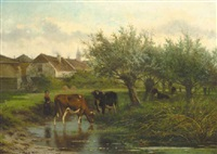 a cowherdess watering cows by willow trees by jan volyk