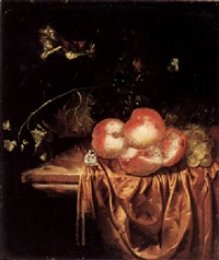 still life of peaches and grapes with a roemer upon a ledge draped with a brown cloth by harmen loeding