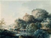 gebirgige landschaft mit ruine und brücke (oybin im zittauer tal) by johann philipp veith
