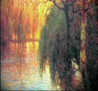 salici sul lago, (1913-'14) by duilio corompai