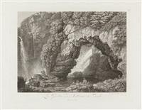 grotten in palazzuola und tivoli - ponte lupo (3 works) by friedrich wilhelm gmelin