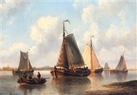 rivierlandschap met vissersboten op kalm water by johannes jacobus antonius hilverdink