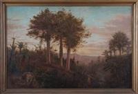 bush scene with kauris and nikau by trevor lloyd