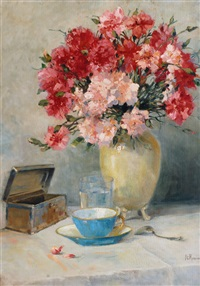 still life with pinks by franz carl renner