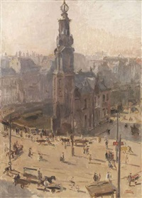 view of the munttower in winter, amsterdam by isaac israels