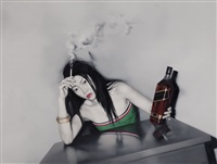 cigarette and whisky by he sen