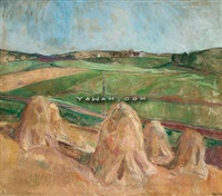landskap med hoystakker by theodor laureng