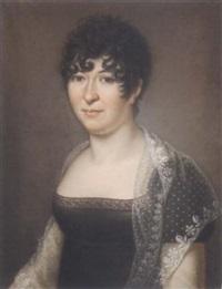 portrait de femme portant une mantille by baptiste gagnereaux