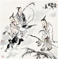 逸风散趣图 镜心 设色纸本 by liang zhanyan