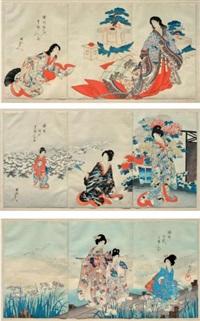 sans titre (9 works in 3 frames) by toyohara chikanobu