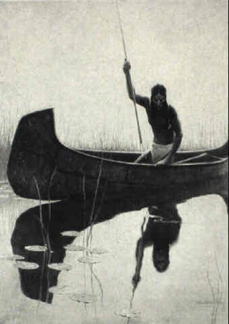 Native American spear fishing from canoe by William ...