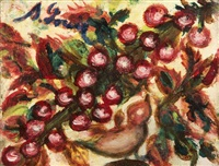oiseau et branche de cerisiers by séraphine de senlis