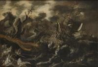 navires sur une mer agitée près d'un rivage by pieter mulier the younger