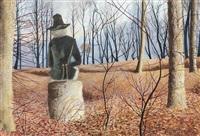 le poète dans la forêt, vue de dos by léon spilliaert