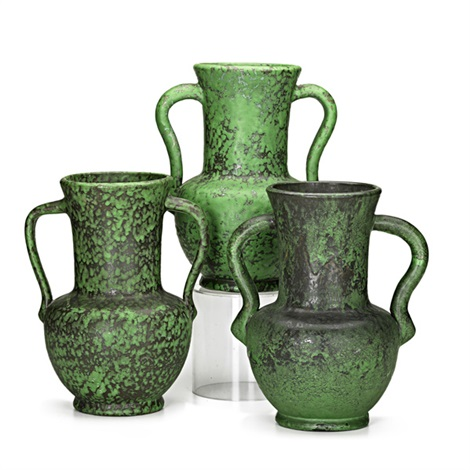 Double Handled Coppertone Vases 3 Works By Weller Pottery On Artnet