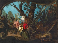 blumenstück von einer kartusche umgeben by franz xavier kosler