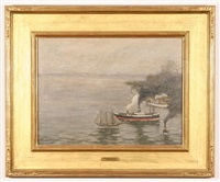 steamboat and sailboat in brooklyn harbor by charles vezin