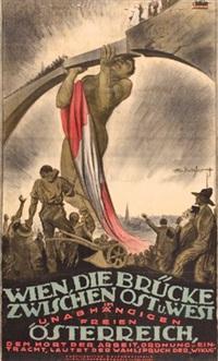 wien, die brücke zwischen ost und west im unabhängigen freien österreich... by theo matejko