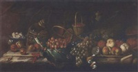strawberries, peaches, grapes, melons, redcurrants, a partly-peeled lemon, a dish of cheese, a bottle and glass of wine on a marble ledge, with a snail and a butterfly by agostino verrocchi