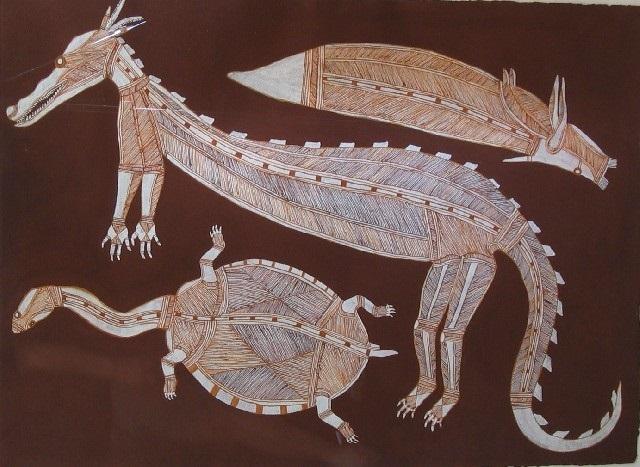 turtle crocodile and barramundi by lofty narbardayal nadjamerrek