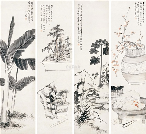 花鸟 flowers and birds 4 works by song nian