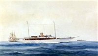a steam yacht flying the royal yacht squadron burgee by c. mcnight-smith