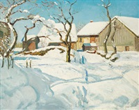 village sous le soleil d'hiver by alfred swieykowski