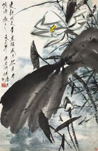 荷花 立轴 设色纸本 by tang yun