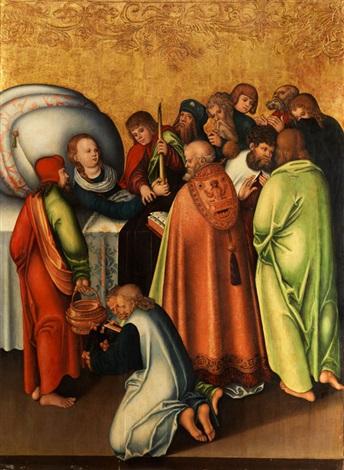 tod mariae im kreise der apostel by lucas cranach the elder