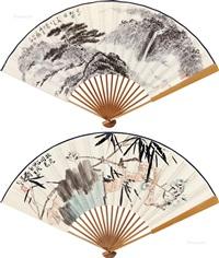 双清图 夏山松云图 成扇 水墨纸本 设色纸本 by various chinese artists