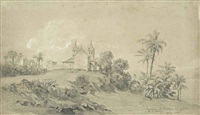 couvent de la montagne des signaux à rio de janeiro (sketch) (+ wooded landscape (sketch); 2 works) by auguste borget