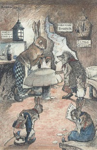 a tough customer: a hedgehog at the march hare barber by ernest alfred aris