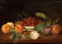 stilleben med frukter och blommor by justus juncker