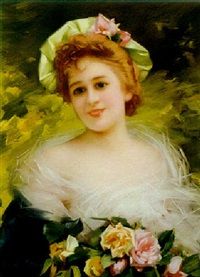 a lady with roses by alphonse marx