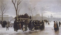 a disturbance on le quai de gesvres, paris by alphonse cornet