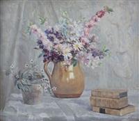interno con vaso di fiori e libri by manlio trucco