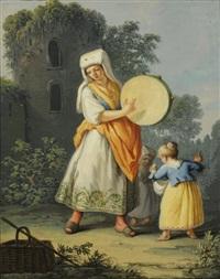 femme au tambourin et enfants du posillipo et femme aux castagnettes de minorca (2 works) by saverio xavier della gatta