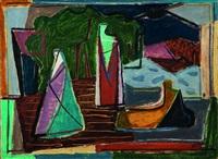 trois figures dans un paysage by aharon kahana