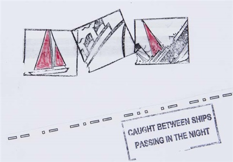 caught between ships passing in the night by lawrence weiner
