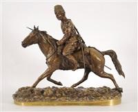 officier cosaque à cheval tenant une lance à la main by pyotr aleksandrovich samonov