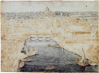 a view of rome, looking along the tiber, over the castel sant'angelo toward st. peter's by lievin cruyl