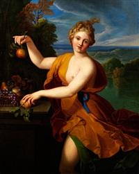 junge schönheit als pomona, der römischen göttin des obstsegens by nicolas fouche