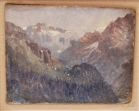 a view in the swiss alps by john joseph enneking