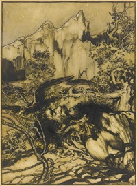 he raised his hammer with a mighty swing by arthur rackham