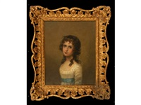 a portrait of a young girl with her hair in ringlets and wearing a blue sash around her white dress (+ 3 others, 4 works) by john russell