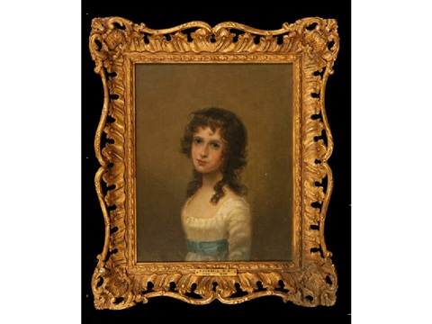 a portrait of a young girl with her hair in ringlets and wearing a blue sash around her white dress 3 others 4 works by john russell