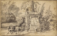 sheep grazing among classical monuments by jacob van der does the elder