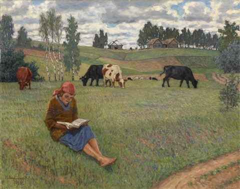 girl reading in a meadow by nikolai petrovich bogdanov belsky