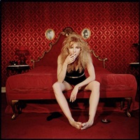 traci lords smoking a cigarette in the valentino room of the alexandria hotel by bettina rheims