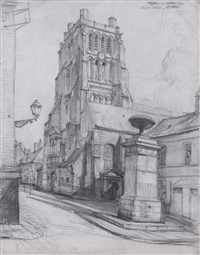 une vue de la basilique saint-denis à saint-omer (+ 5 others; 6 works) by frank lewis emanuel